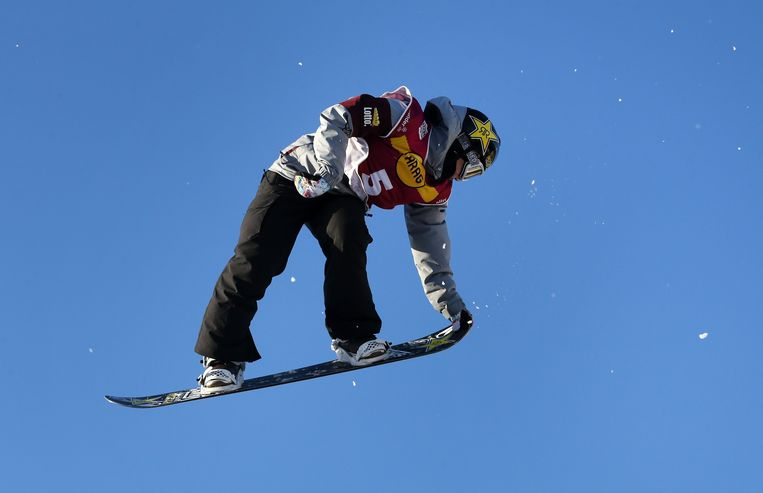 Cheryl Maas in actie tijdens de Snowboard World Cup in 2016.  Beeld EPA