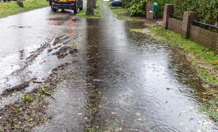 Bewoners van de Wipstrikkerallee konden dit weekend niet droog hun voordeur bereiken. Zwolle en andere gemeenten moeten meer lokale waterberging aanleggen, zodat het hemelwater geleidelijk kan worden afgevoerd.