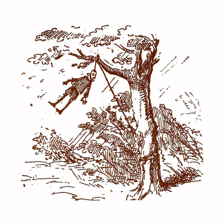 Illustratie uit de Avonturen van Pinokkio (1883), van Carlo Collodi met illustraties van Enrico Mazzanti.  Beeld Enrico Mazzanti