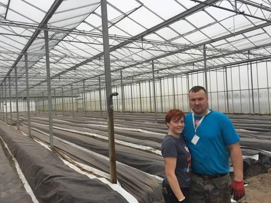 Justyna Kaminska-Kusior en haar man in de kassen in Dongen.