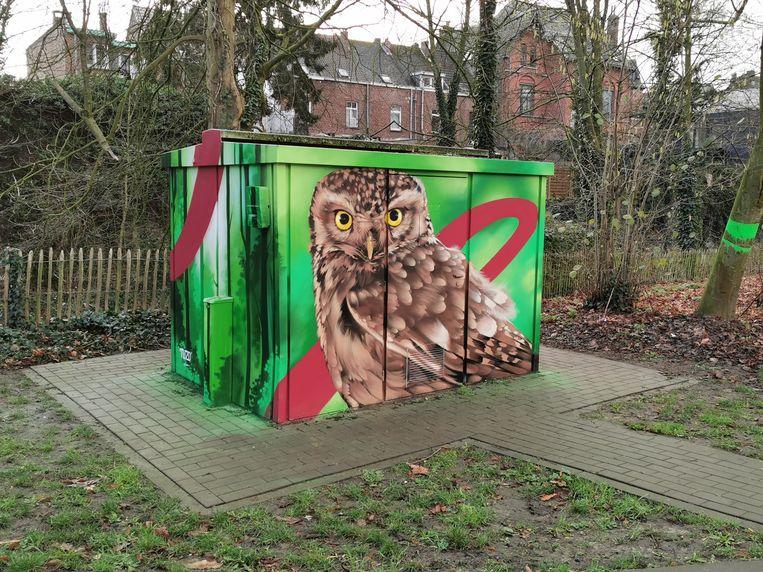 Graffitikunstenaar TUZQ maakte van de lelijke elektriciteitscabines in het Albertpark echte kunstwerkjes.