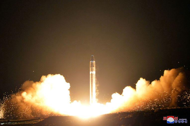 Een foto van de Hwasong-15-lancering op 29 november.