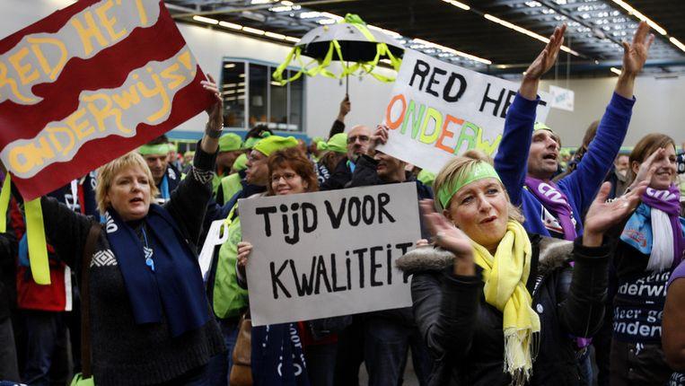 Docenten protesteren op een landelijke stakingsdag Beeld anp
