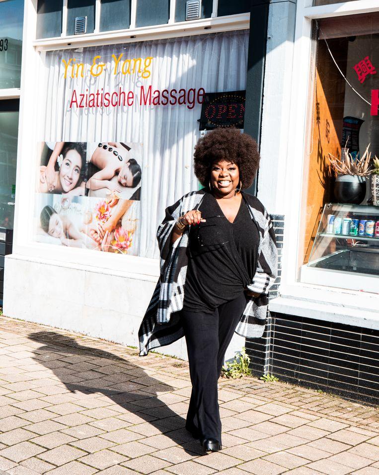 Michelle David in Utrecht. Beeld Hilde Harshagen