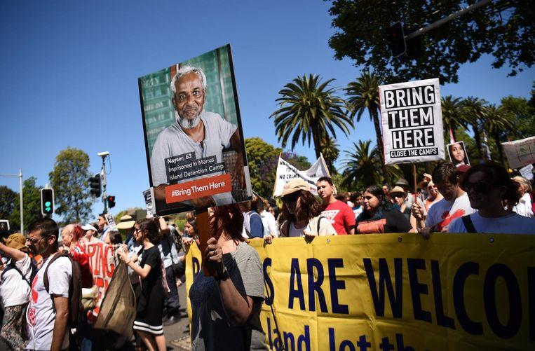 Een demonstratie voor een humaner asielbeleid in Sydney in november 2016. Beeld afp