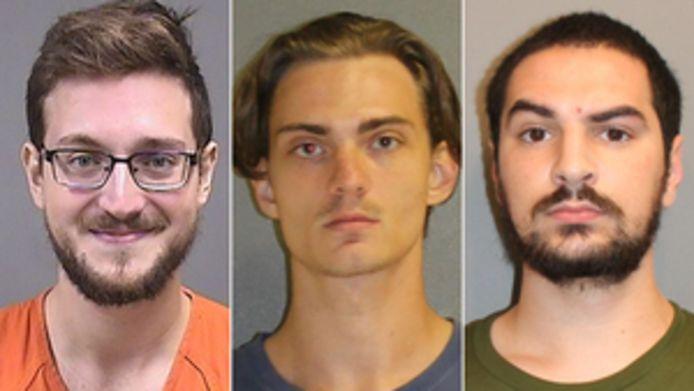 Door de politie vrijgegeven beelden van de aangehouden mannen. Van links naar rechts: James Patrick Reardon, Tristan Wix en Brandon Wagshol.