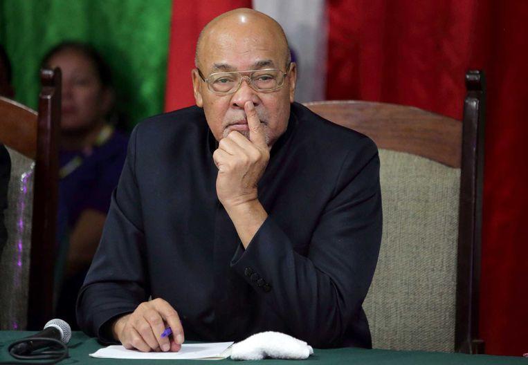 De Surinaamse president Desi Bouterse reageert tijdens een persconferentie op zijn veroordeling van 20 jaar cel voor zijn aandeel in de Decembermoorden in 1982, kort na landing in Suriname.  Beeld ANP