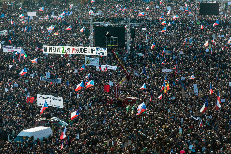 Protest zaterdag in Praag tegen  de Tsjechische premier Andrej Babiš.