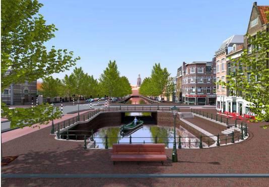 Een schets van het Piet Heinplein mèt gracht. Een droombeeld, noemt wethouder Revis dit.