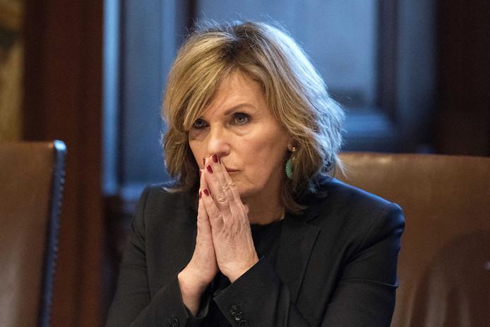 Pia Dijkstra (D66) tijdens de stemming in de Eerste Kamer over de wet