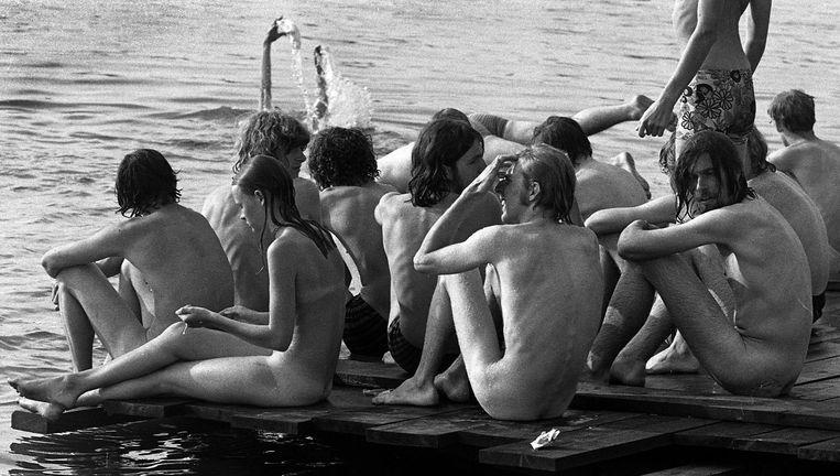 Holland Pop Festival in het Kralingse Bos in Rotterdam, zomer 1970. Beeld Wim Ruigrok