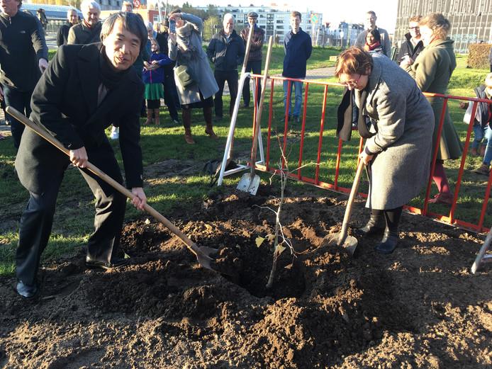 Tine Heyse en Nobutaka Maekawa planten de Ginkgo-vredesboom.