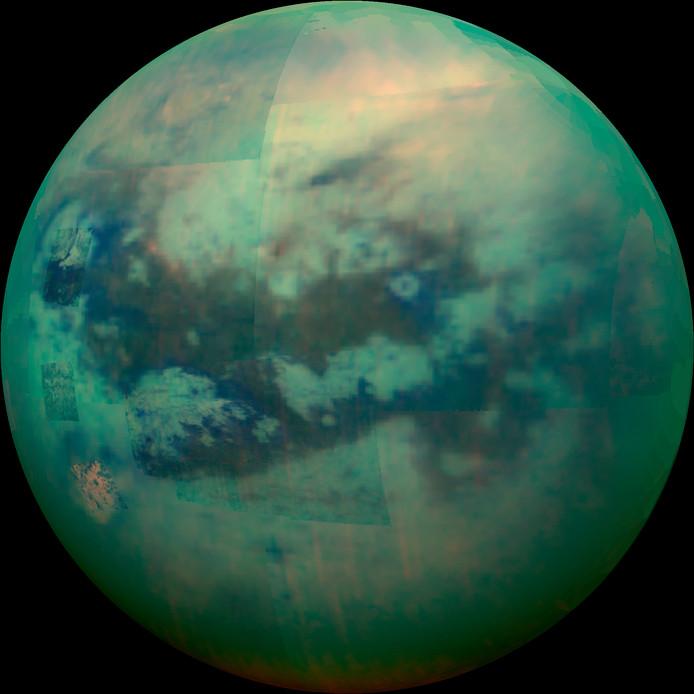 Infraroodbeeld van Titan, de maan van Saturnus.