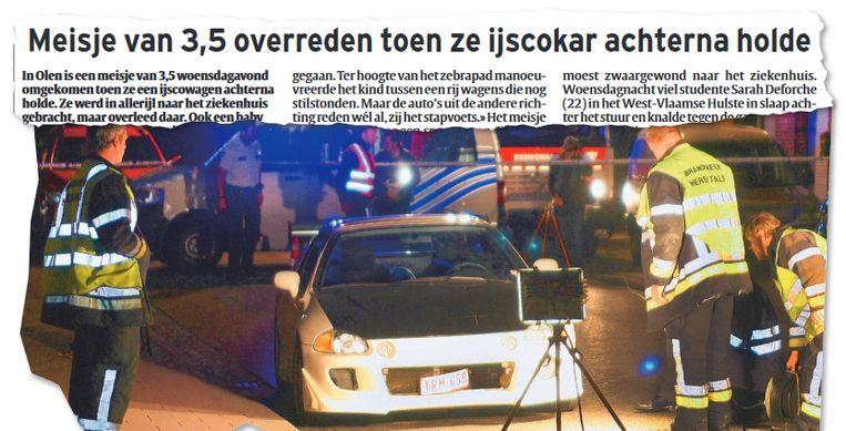 1 juni 2011. Agenten onderzoeken de wagen van de veroorzaker, die niet gedronken had, niet te snel reed, niet was afgeleid.