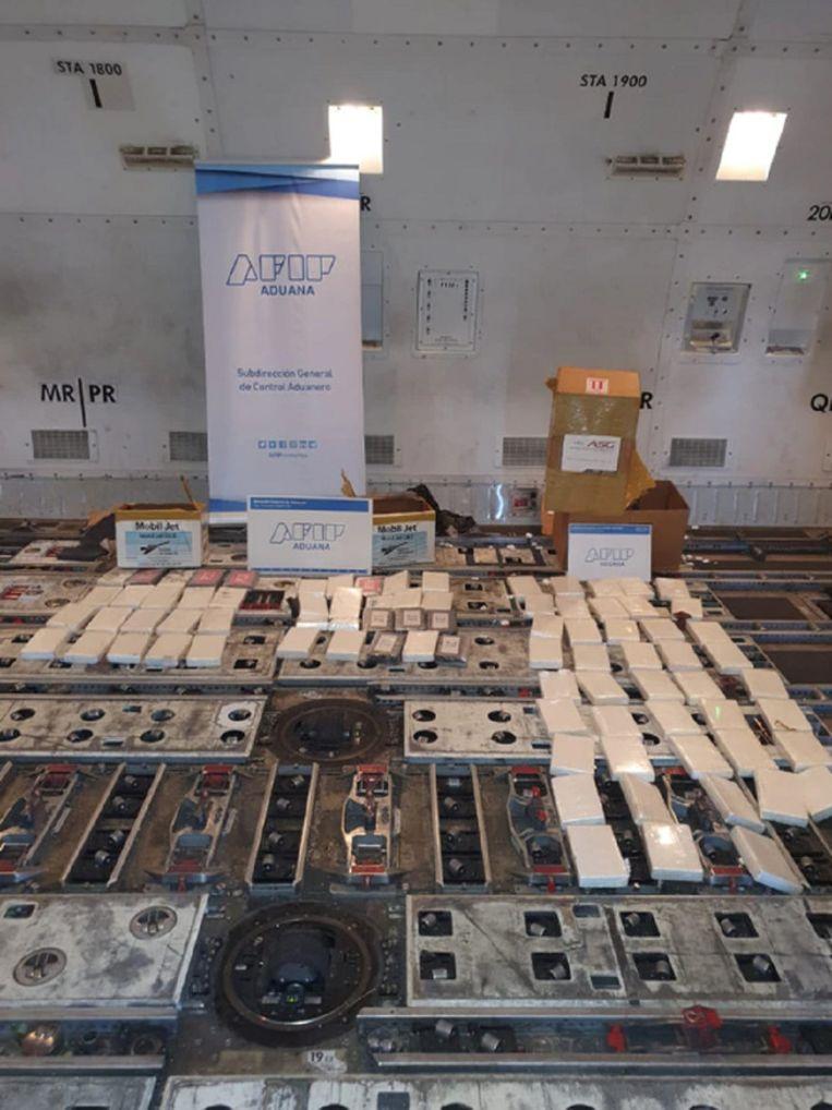 De in het toestel aangetroffen drugs. Beeld Politie Argentinië