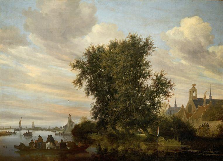 Salomon van Ruysdael, rivierlandschap met op de achtergrond de kerktoren van Gorinchem, 1647.    Beeld Liechtenstein Museum