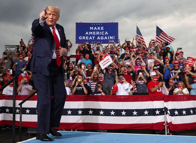 President Donald Trump tijdens een campagnebijeenkomst in North Carolina, begin september. Beeld Reuters