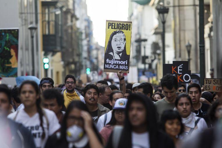 Protestactie tegen de gratieverlening aan ex-president Alberto Fujimori, gisteren in Lima.