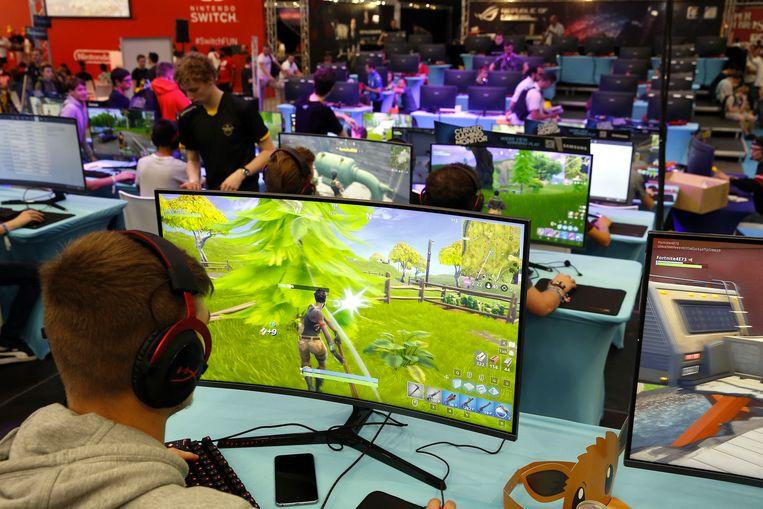 Fortnite-spelers bij een recent evenement in Mechelen. Beeld BELGA