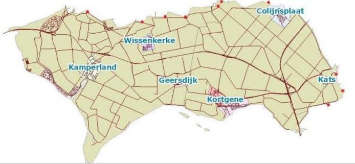 Tien rode stippen duiden de locaties van de nieuwe jutbakken aan.