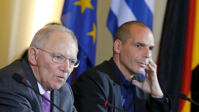 Wolfgang Schäuble (à gauche) avec le Ministre grec des Finances Yanis Varoufakis