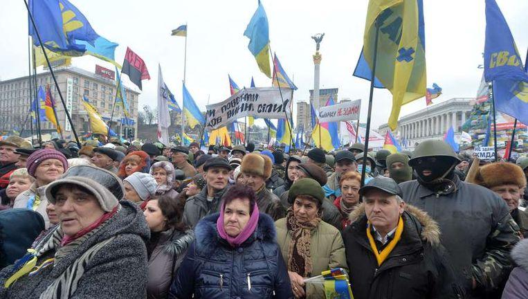 Protest in Kiev vandaag. Beeld afp