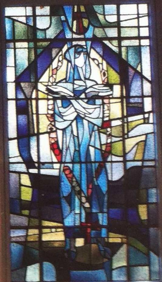 Het glas-in-lood-raam van Marius de Leeuw.