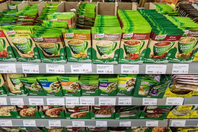 Sauzen van Knorr in een supermarkt in Polen.
