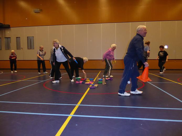 Ouderen halen in de gymzaal van Edith Stein in Zijtaart materialen uit de cirkel en rennen naar een hoepel waar kinderen die materialen verzamelen en optellen.