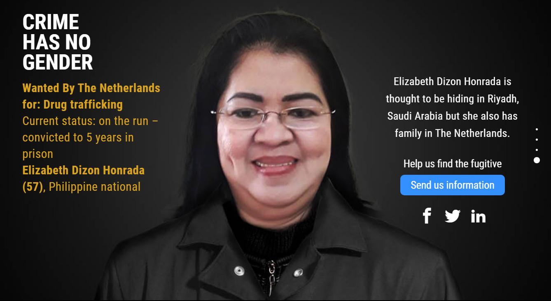 Elizabeth Dizon Honrada is al vijf jaar op de vlucht voor justitie in Nederland.