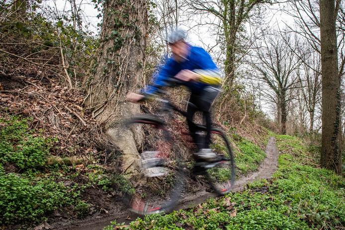 De mountainbiker raakte gewond in de bossen van Amerongen (niet de persoon afgebeeld op de foto).