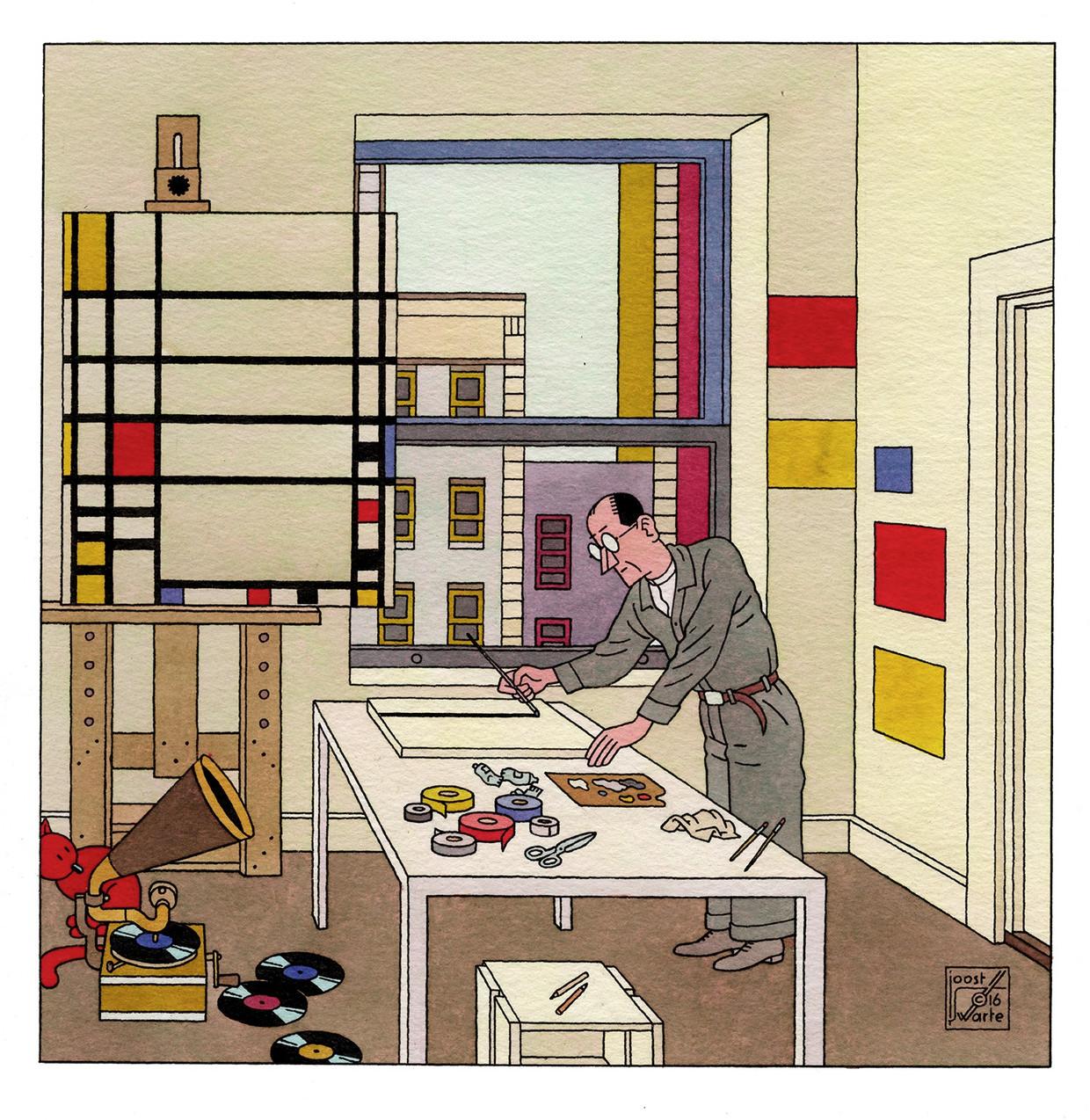 Piet Mondriaan in zijn atelier in New York (2017).