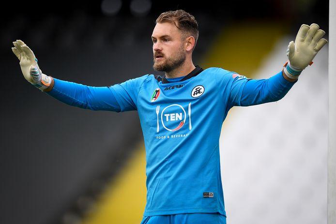 Jeroen Zoet in het shirt van Spezia, waarvoor hij tot nu toe twee duels keepte in de Serie A. Door een blessure kon hij dat aantal vooralsnog niet uitbreiden.