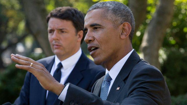President Obama dinsdag met de Italiaanse premier Renzi. Beeld null