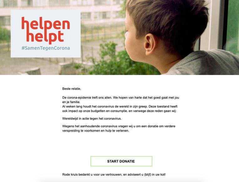 """Screenshot van een vals bericht waarin wordt gevraagd om een donatie voor het Rode Kruis. In werkelijkheid gaat het om phishing. """"Klik zeker niet op deze mails"""", waarschuwt het Rode Kruis."""