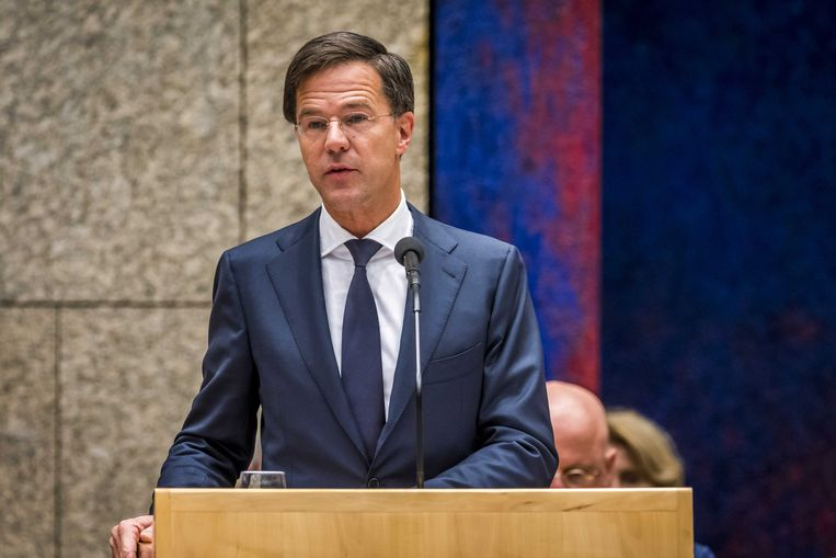 Premier Mark Rutte tijdens het plenair debat in de Tweede Kamer over de regeringsverklaring Beeld ANP