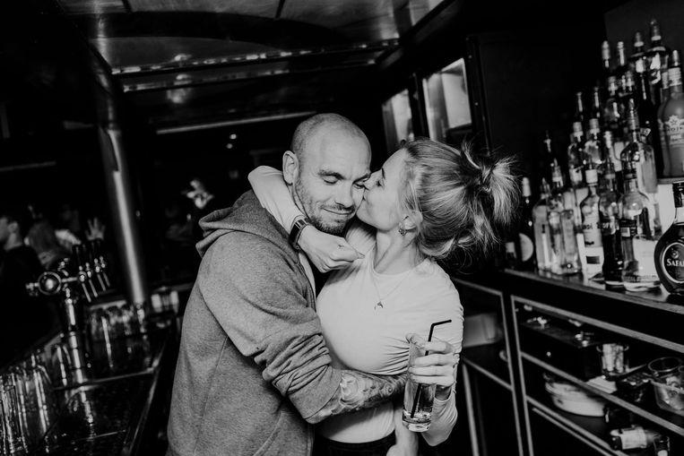 Cafébaas Igor Van Driessche met zijn toekomstige Kayleigh Goovaerts.