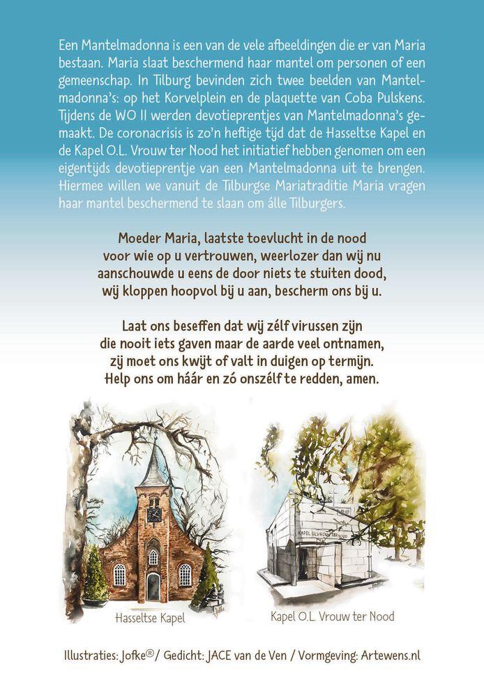 Achterkant van het devotieprentje van de mantelmadonna voor Tilburg