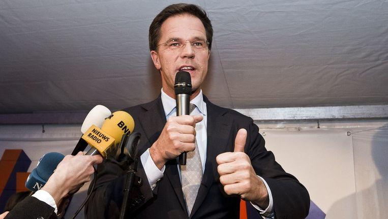 Mark Rutte spreekt zijn partij toe. Beeld anp