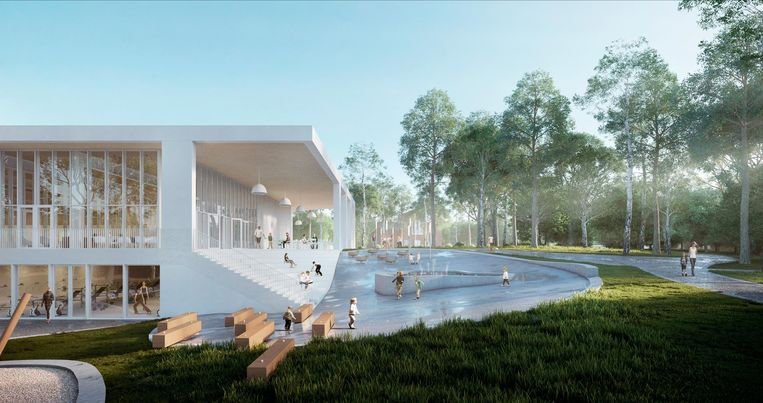Een blik op het toekomstige zwemcomplex, gelegen tussen het groen.