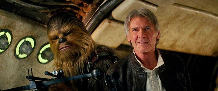 Harrison Ford als Han Solo, met sidekick Chewbacca.
