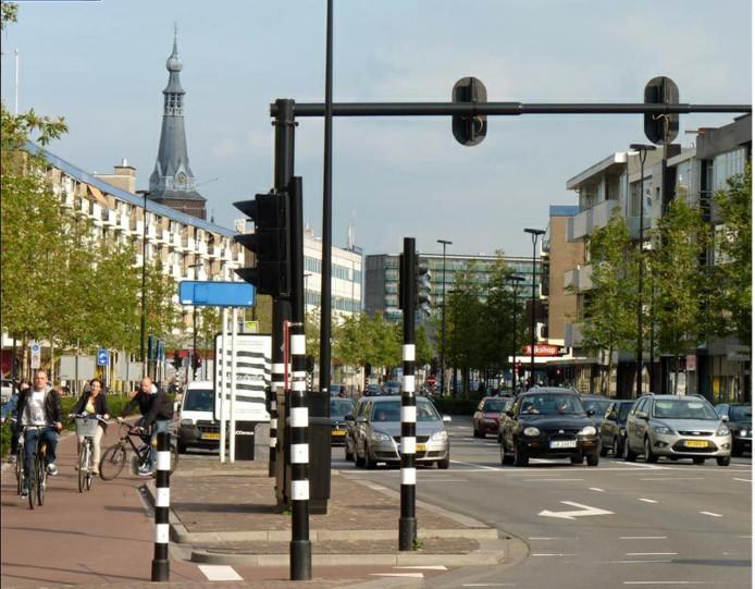 Een snelheidscontrole op de Cityring in Tilburg.