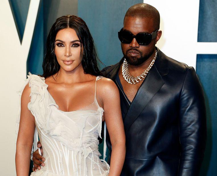 Kim Kardashian en echtgenoot Kanye West. Kardashian gaat podcasts maken voor Spotify. Beeld EPA