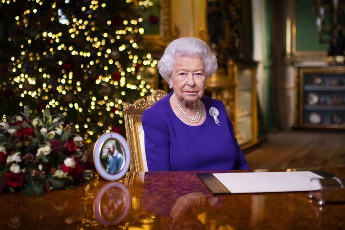 Queen Elizabeth tijdens haar echte kersttoespraak.