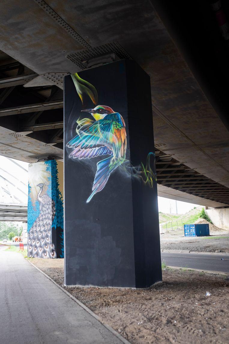 Graffitikunst langs de Vaartkaai ter ere van Julie Van Espen.
