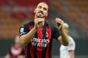 Zlatan maandag tegen Bologna, match waarin hij twee keer scoorde.