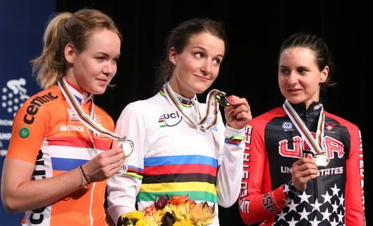 Achter Elizabeth Armitstead en Anna Van Der Breggen finishte Megan Guarnier in Richmond in 2015 al als derde.