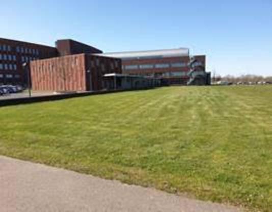 De landingsplaats voor de traumaheli aan de achterkant van het Maasziekenhuis in Boxmeer.