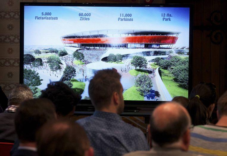Zo zou het ambitieuze Eurostadion er moeten gaan uitzien. Anderlecht heeft - voorlopig - de stekker getrokken uit het project.