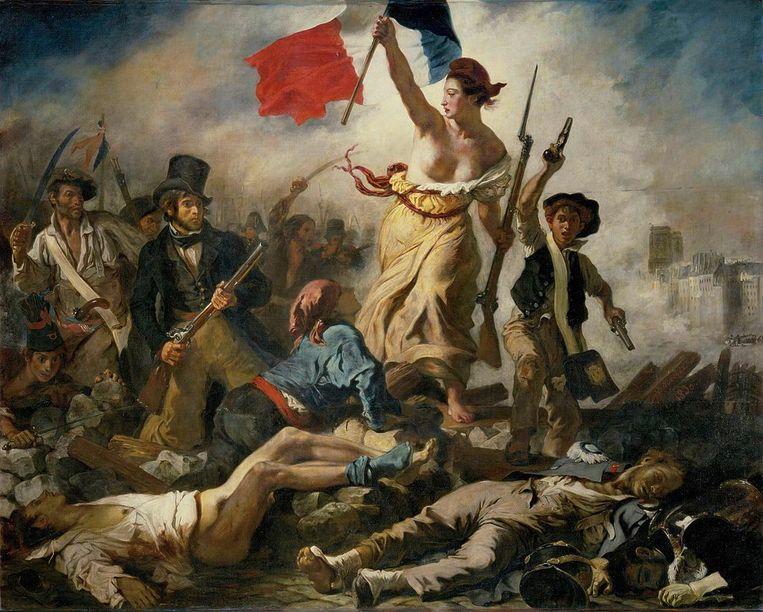 Het beroemde schilderij 'La Liberté guidant le peuple' uit 1830.